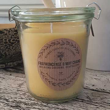 """Frankincense and May Chang Beeswax and Organic Coconut Scented Candle"""