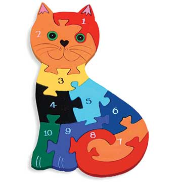 """Cat Number Wooden Jigsaw Puzzle"""