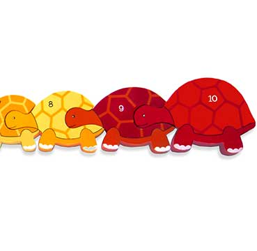 Number Tortoise in a Row Wooden Jigsaw Pieces""